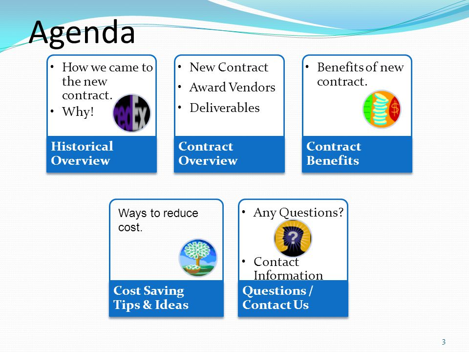 Agenda How we came to the new contract. Why.