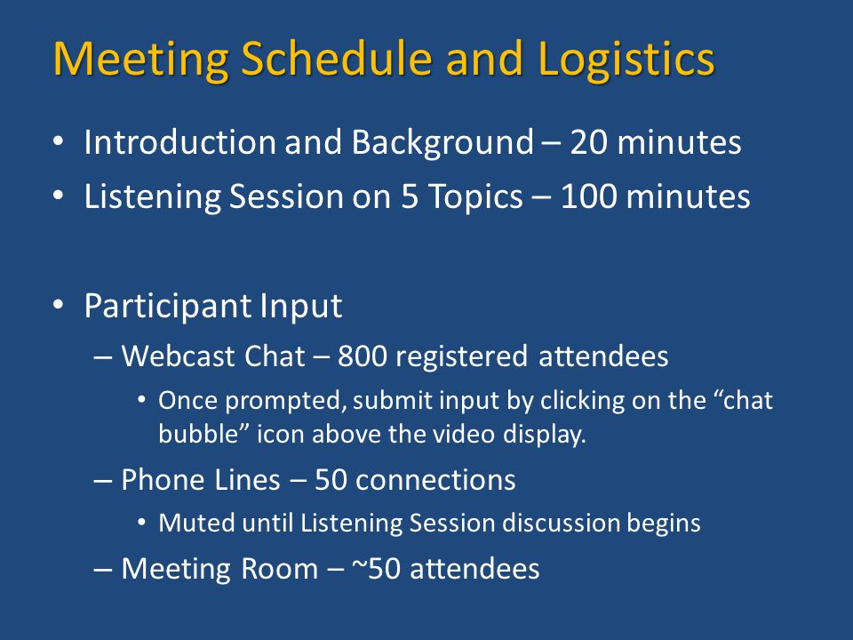 Meeting Schedule and Logistics Introduction and Background – 20 minutes Listening Session on 5 Topics – 100 minutes Participant Input – Webcast Chat – 800 registered attendees Once prompted, submit input by clicking on the chat bubble icon above the video display.