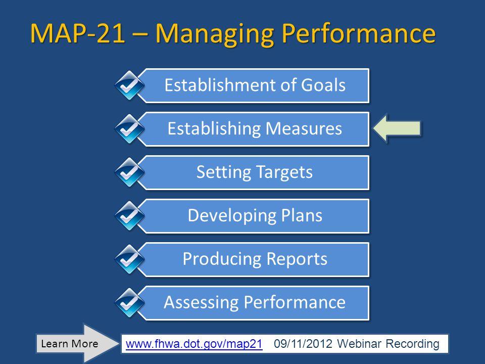 MAP-21 – Managing Performance Establishment of Goals Establishing Measures Setting Targets Developing Plans Producing Reports Assessing Performance Le