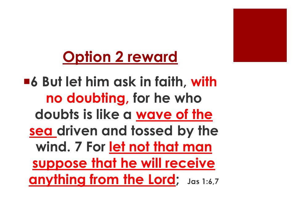 Option 2 reward  6 But let him ask in faith, with no doubting, for he who doubts is like a wave of the sea driven and tossed by the wind.
