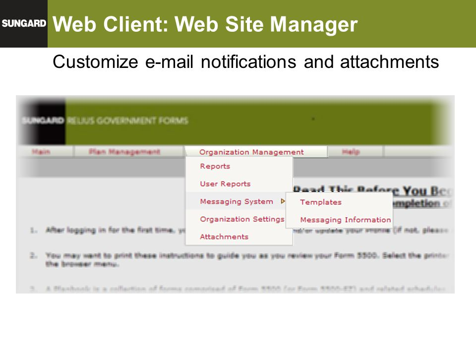 Web Client: Web Site Manager Customize e-mail notifications and attachments