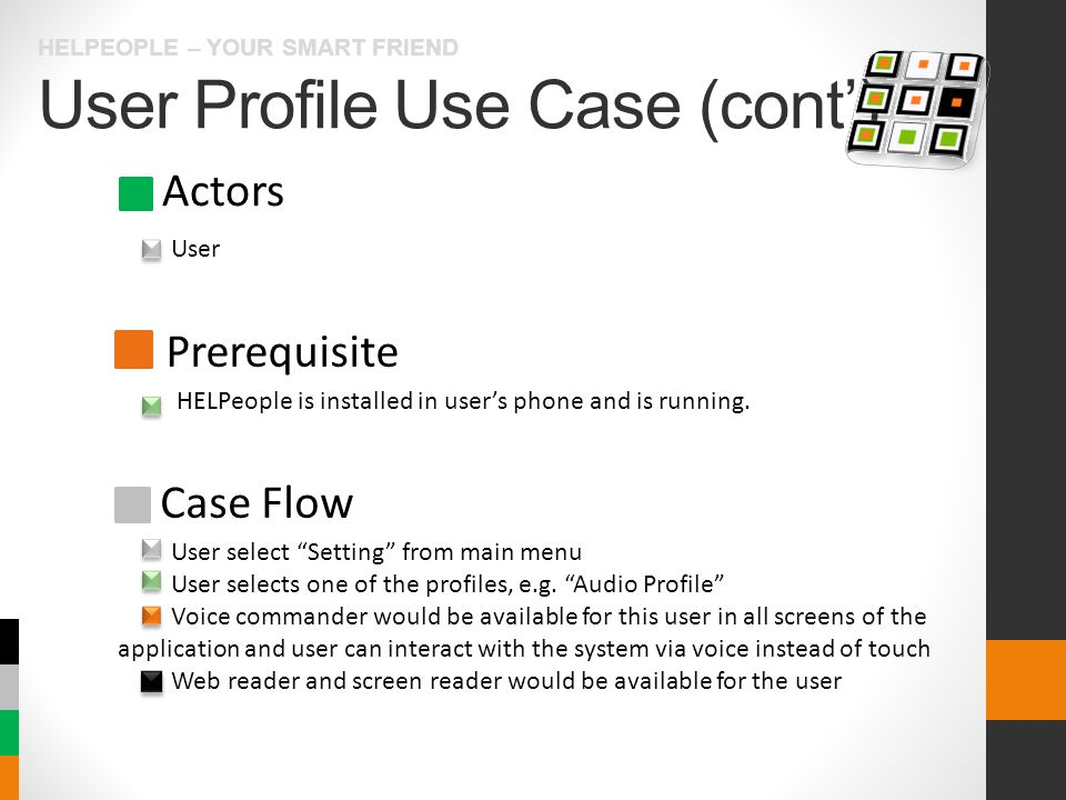 User Profile Use Case (cont') HELPEOPLE – YOUR SMART FRIEND Actors Prerequisite Case Flow User HELPeople is installed in user's phone and is running.