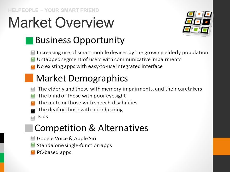 Market Overview HELPEOPLE – YOUR SMART FRIEND Business Opportunity Market Demographics Competition & Alternatives Increasing use of smart mobile devices by the growing elderly population Untapped segment of users with communicative impairments No existing apps with easy-to-use integrated interface The elderly and those with memory impairments, and their caretakers The blind or those with poor eyesight The mute or those with speech disabilities The deaf or those with poor hearing Kids Google Voice & Apple Siri Standalone single-function apps PC-based apps