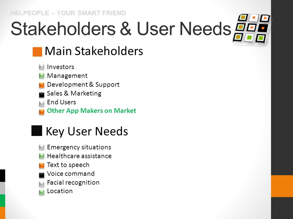 Stakeholders & User Needs HELPEOPLE – YOUR SMART FRIEND Main Stakeholders Key User Needs Investors Management Development & Support Sales & Marketing