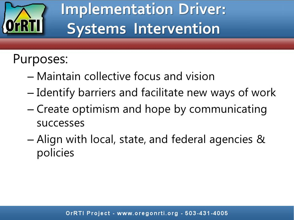 Implementation Driver: Systems Intervention Purposes: – Maintain collective focus and vision – Identify barriers and facilitate new ways of work – Cre
