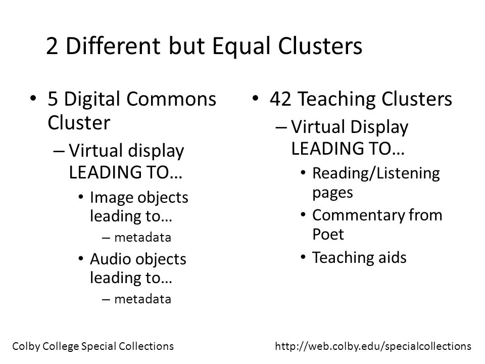 2 Different but Equal Clusters 5 Digital Commons Cluster – Virtual display LEADING TO… Image objects leading to… – metadata Audio objects leading to… – metadata 42 Teaching Clusters – Virtual Display LEADING TO… Reading/Listening pages Commentary from Poet Teaching aids http://web.colby.edu/specialcollectionsColby College Special Collections