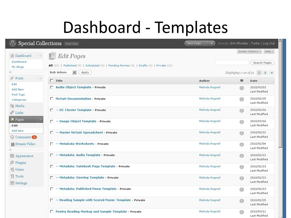 Dashboard - Templates
