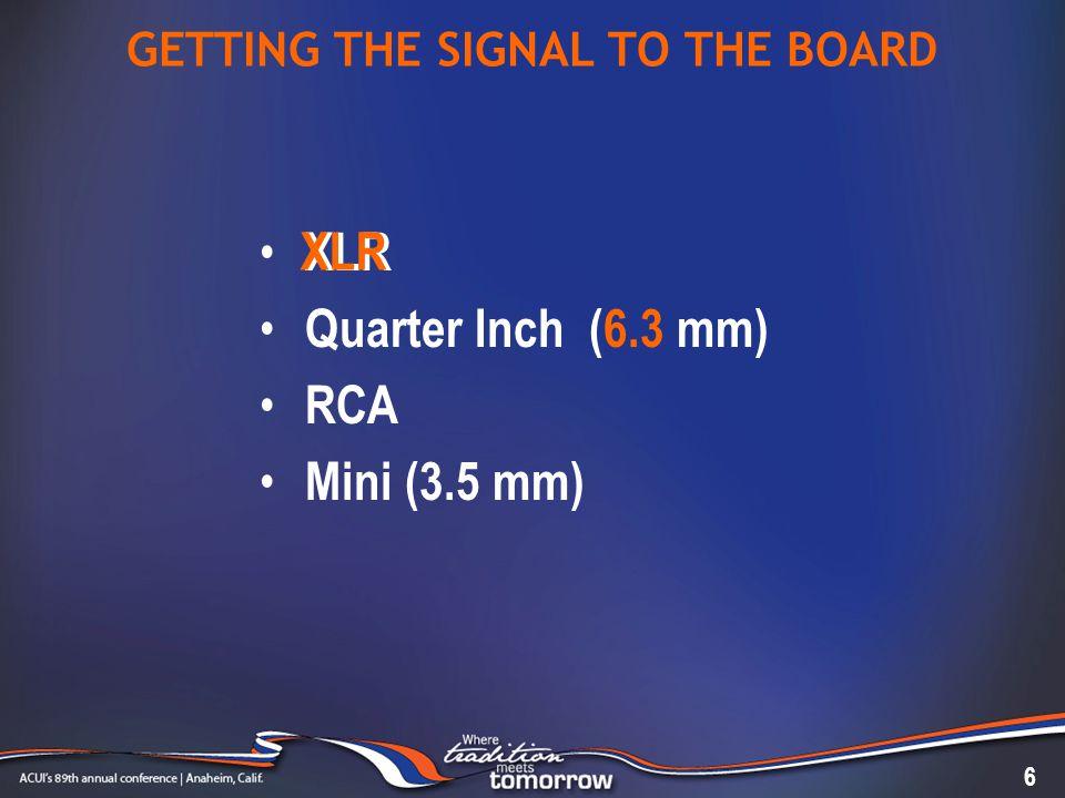 GETTING THE SIGNAL TO THE BOARD XLR Quarter Inch (6.3 mm) RCA Mini (3.5 mm) 6 XLR