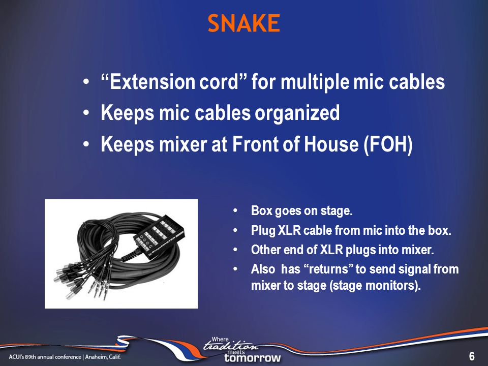 SNAKE 6 Extension cord for multiple mic cables Keeps mic cables organized Keeps mixer at Front of House (FOH) Box goes on stage.