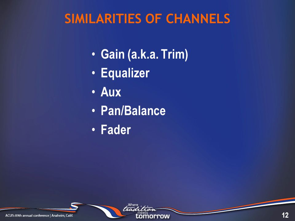 SIMILARITIES OF CHANNELS Gain (a.k.a. Trim) Equalizer Aux Pan/Balance Fader 12
