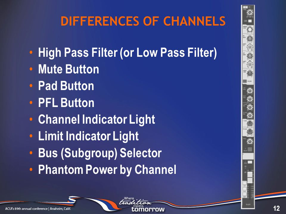 DIFFERENCES OF CHANNELS High Pass Filter (or Low Pass Filter) Mute Button Pad Button PFL Button Channel Indicator Light Limit Indicator Light Bus (Sub