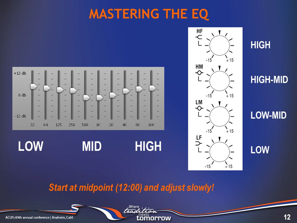 MASTERING THE EQ 12 Start at midpoint (12:00) and adjust slowly.