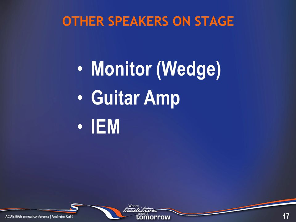 OTHER SPEAKERS ON STAGE Monitor (Wedge) Guitar Amp IEM 17