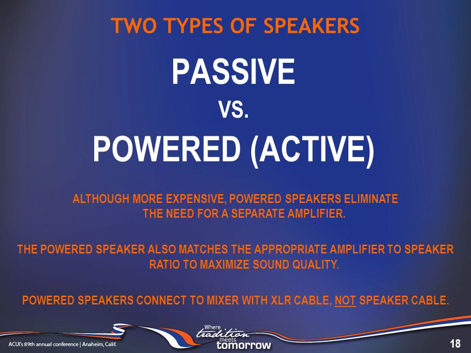 TWO TYPES OF SPEAKERS PASSIVE VS.