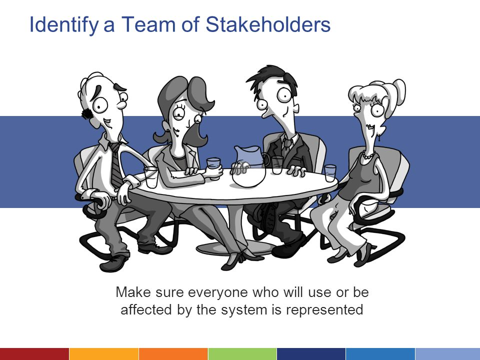 Identify a Team of Stakeholders Make sure everyone who will use or be affected by the system is represented
