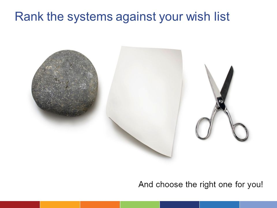 Rank the systems against your wish list And choose the right one for you!