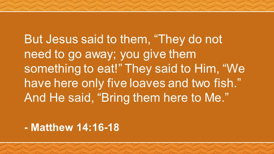 But Jesus said to them, They do not need to go away; you give them something to eat! They said to Him, We have here only five loaves and two fish. And He said, Bring them here to Me. - Matthew 14:16-18