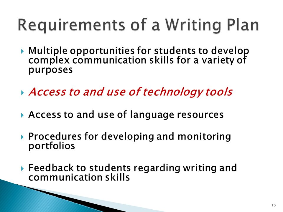  Multiple opportunities for students to develop complex communication skills for a variety of purposes  Access to and use of technology tools  Access to and use of language resources  Procedures for developing and monitoring portfolios  Feedback to students regarding writing and communication skills 15