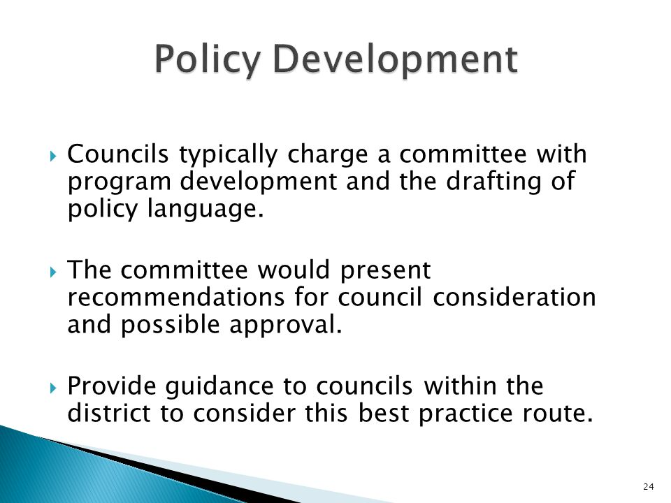  Councils typically charge a committee with program development and the drafting of policy language.