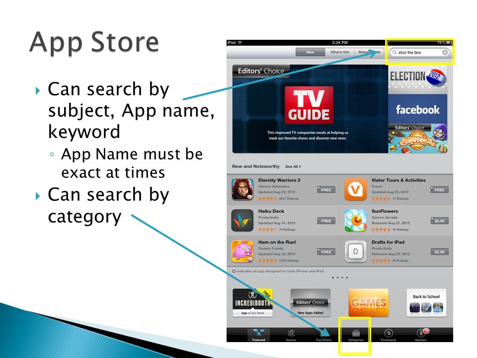  Can search by subject, App name, keyword ◦ App Name must be exact at times  Can search by category