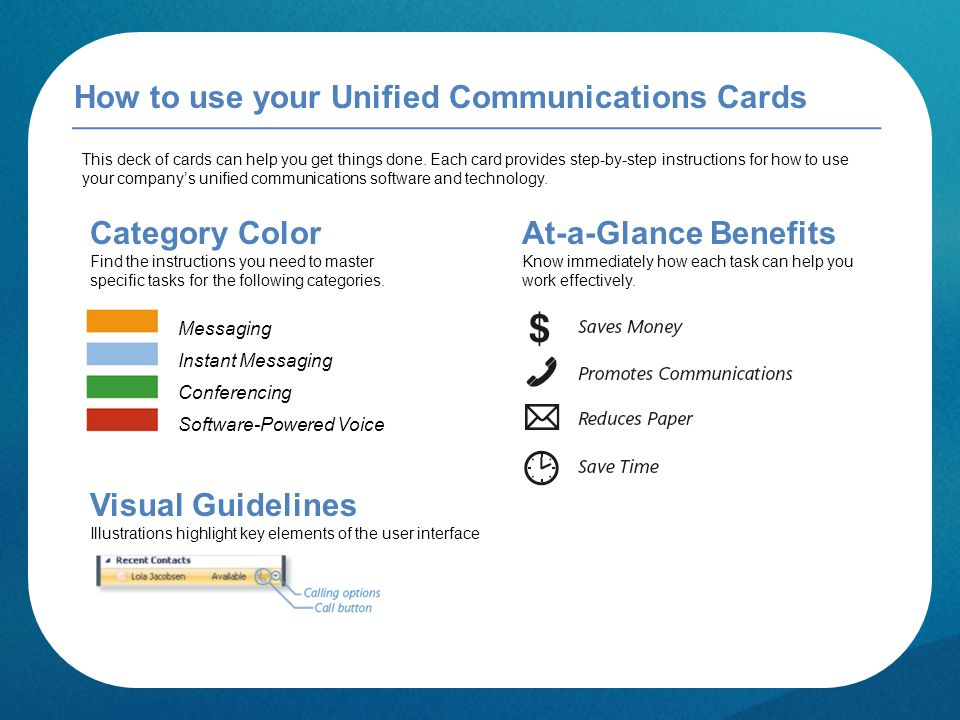 How to use your Unified Communications Cards This deck of cards can help you get things done.