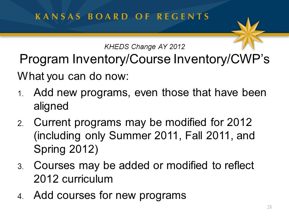 KHEDS Change AY 2012 Program Inventory/Course Inventory/CWP's What you can do now: 1.