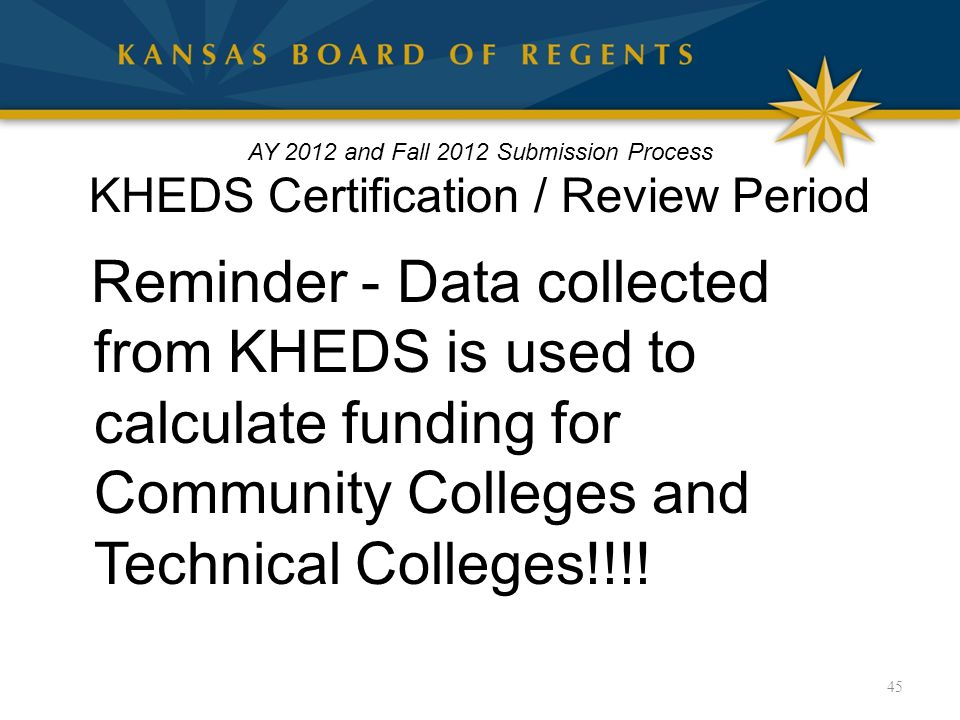 AY 2012 and Fall 2012 Submission Process KHEDS Certification / Review Period Reminder - Data collected from KHEDS is used to calculate funding for Community Colleges and Technical Colleges!!!.