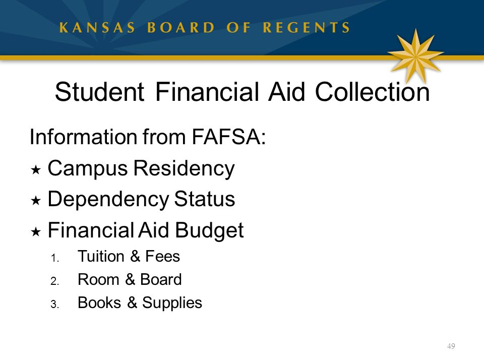 Student Financial Aid Collection Information from FAFSA:  Campus Residency  Dependency Status  Financial Aid Budget 1. Tuition & Fees 2. Room & Boa