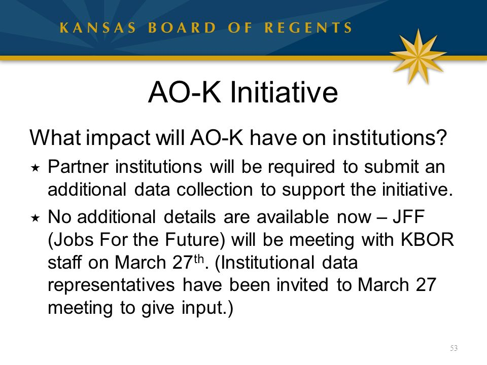 AO-K Initiative What impact will AO-K have on institutions.