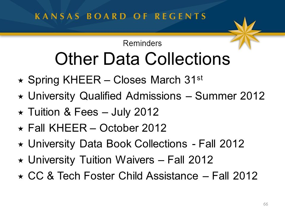 Reminders Other Data Collections  Spring KHEER – Closes March 31 st  University Qualified Admissions – Summer 2012  Tuition & Fees – July 2012  Fa