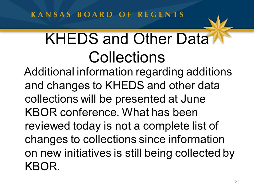 KHEDS and Other Data Collections Additional information regarding additions and changes to KHEDS and other data collections will be presented at June