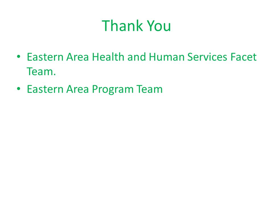 Thank You Eastern Area Health and Human Services Facet Team. Eastern Area Program Team
