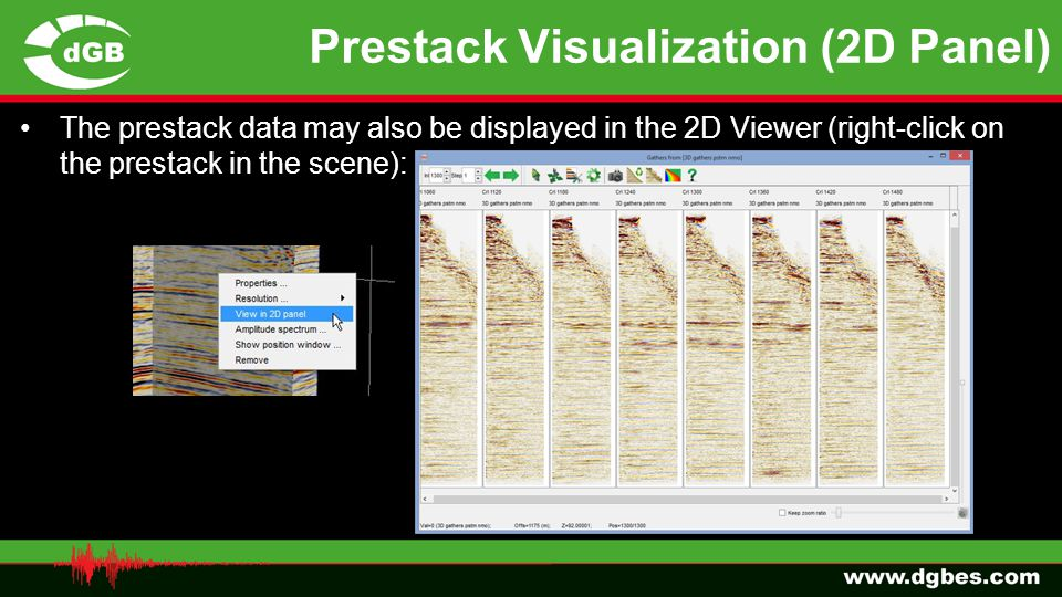 Prestack Visualization (2D Panel) The prestack data may also be displayed in the 2D Viewer (right-click on the prestack in the scene):