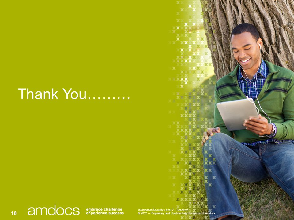 Information Security Level 2 – Sensitive © 2012 – Proprietary and Confidential Information of Amdocs 10 Thank You………