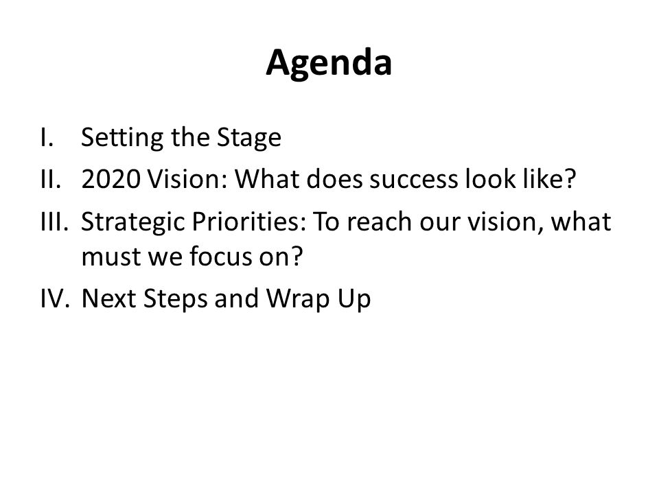 Agenda I.Setting the Stage II.2020 Vision: What does success look like.