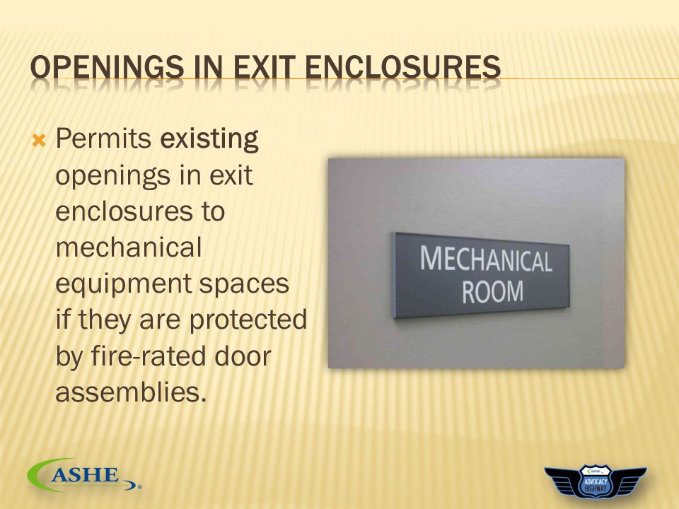  Permits existing openings in exit enclosures to mechanical equipment spaces if they are protected by fire-rated door assemblies.
