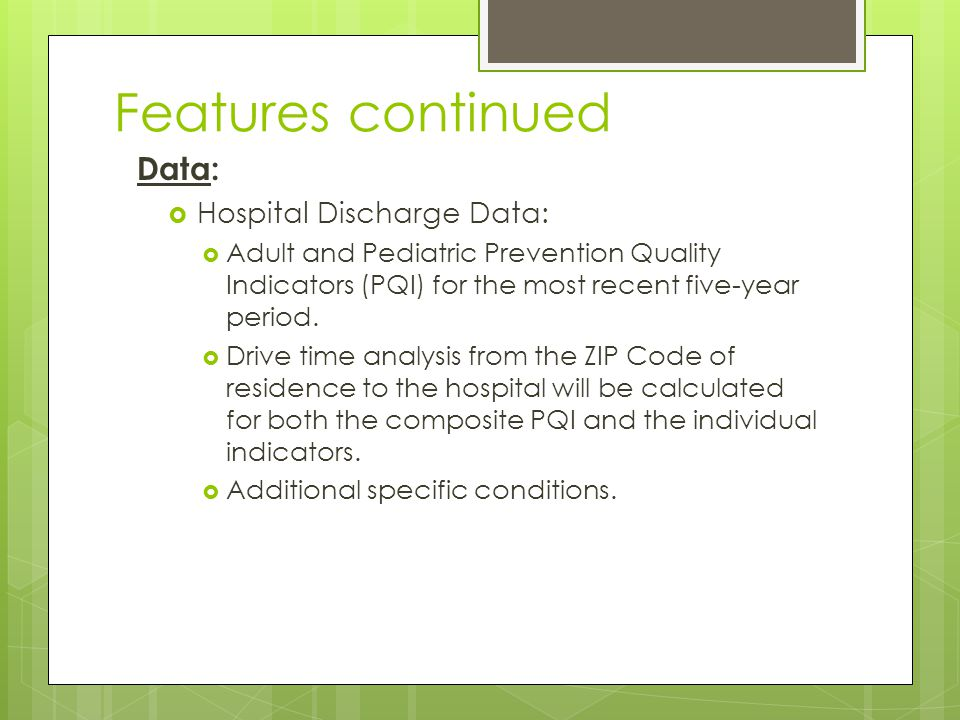  The Prevention Quality Indicators (PQIs) are a set of measures that can be used with hospital inpatient discharge data to identify quality of care for ambulatory care sensitive conditions.  These are conditions for which good outpatient care can potentially prevent the need for hospitalization or for which early intervention can prevent complications or more severe disease.