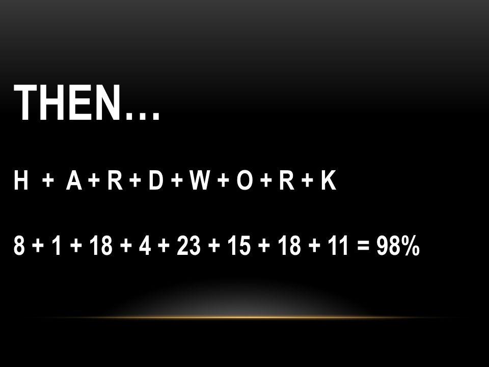 THEN… H + A + R + D + W + O + R + K 8 + 1 + 18 + 4 + 23 + 15 + 18 + 11 = 98%