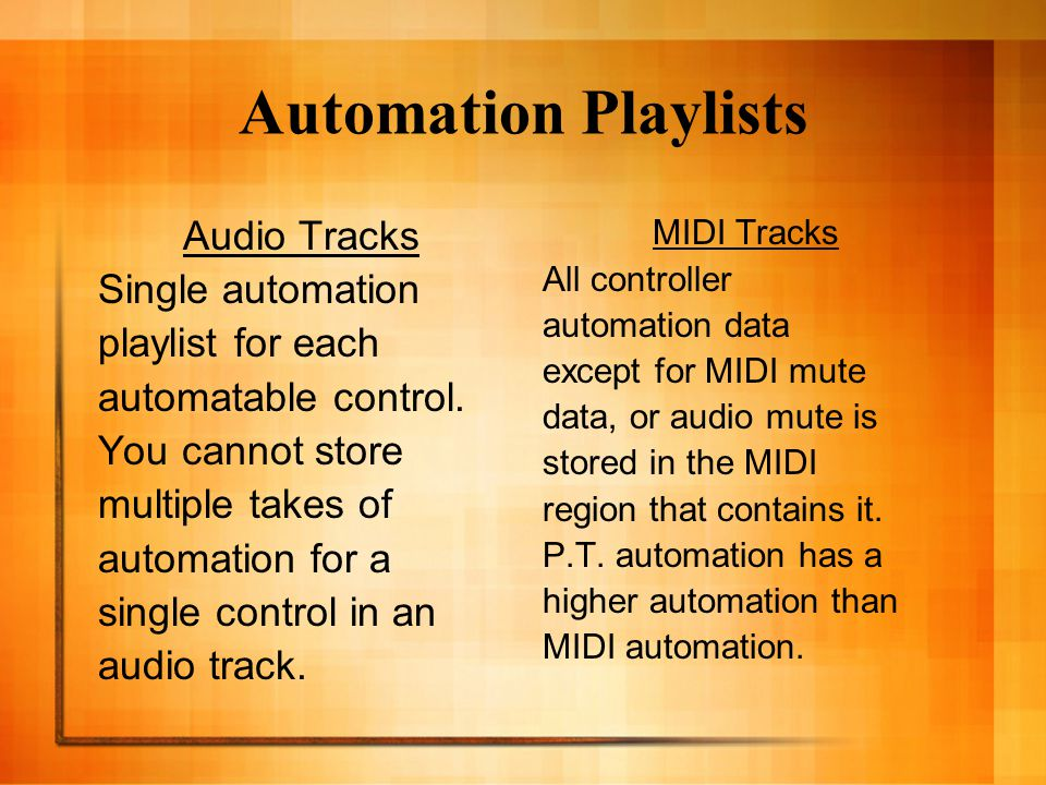 Automation Playlist & Drift Audio track sample based - the track's automation playlist is unaffected by changes in tempo of the session.
