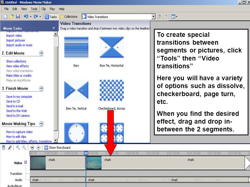To create special transitions between segments or pictures, click Tools then Video transitions Here you will have a variety of options such as dissolve, checkerboard, page turn, etc.