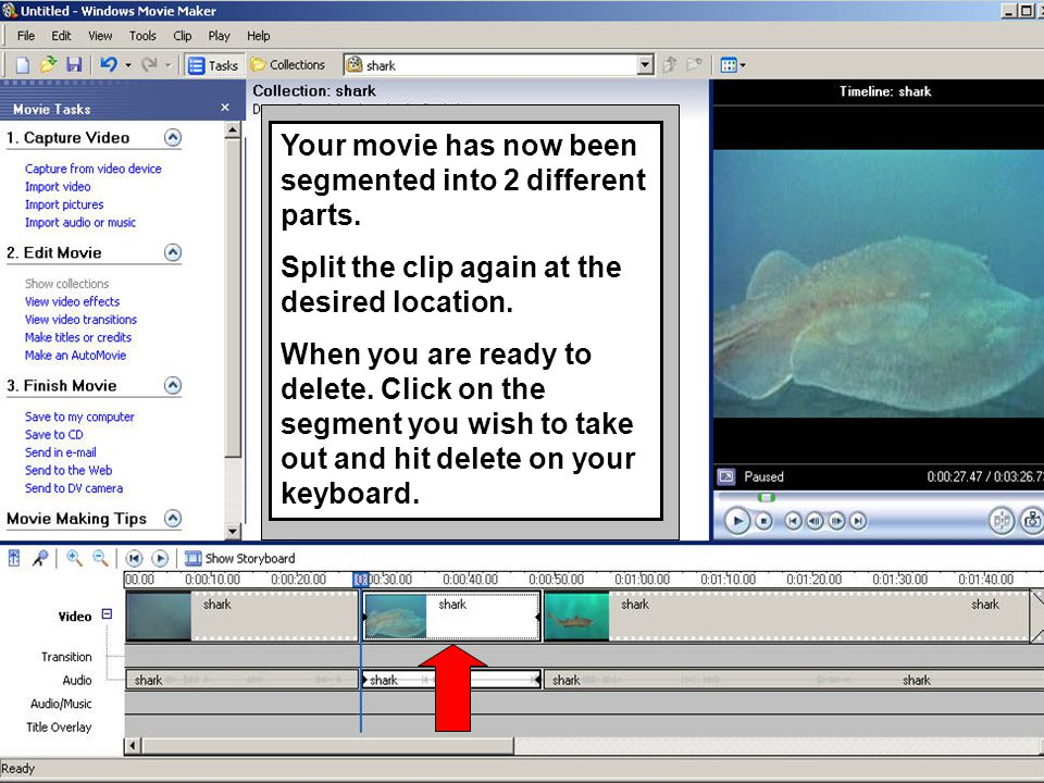 Your movie has now been segmented into 2 different parts. Split the clip again at the desired location. When you are ready to delete. Click on the seg