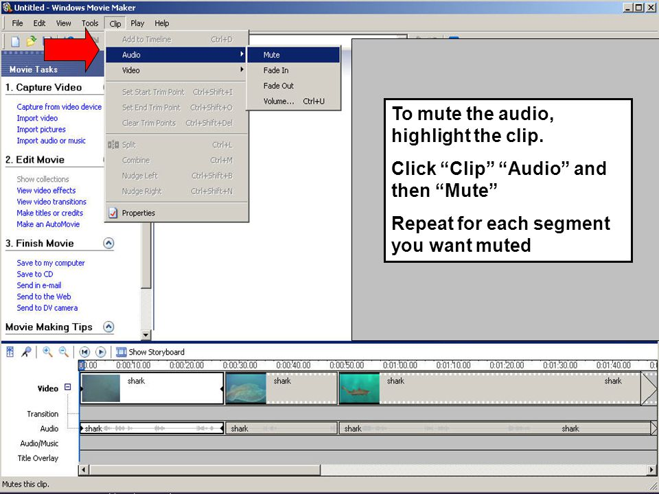 "To mute the audio, highlight the clip. Click ""Clip"" ""Audio"" and then ""Mute"" Repeat for each segment you want muted"