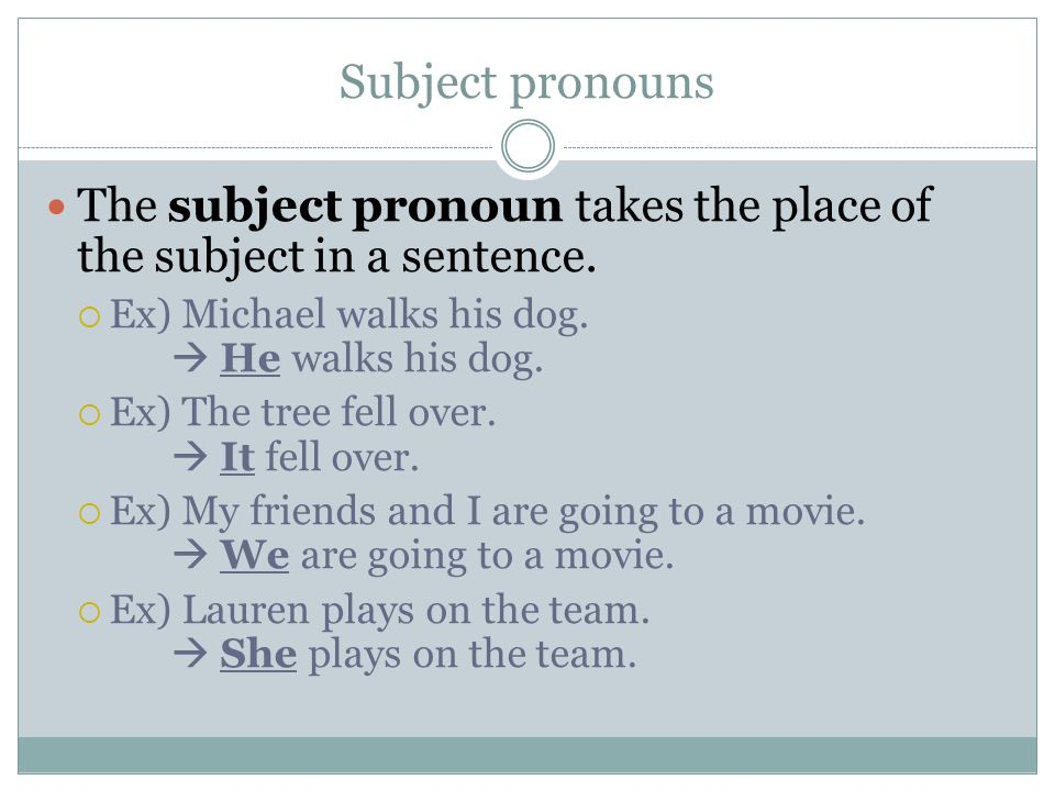 Subject pronouns The subject pronoun takes the place of the subject in a sentence.