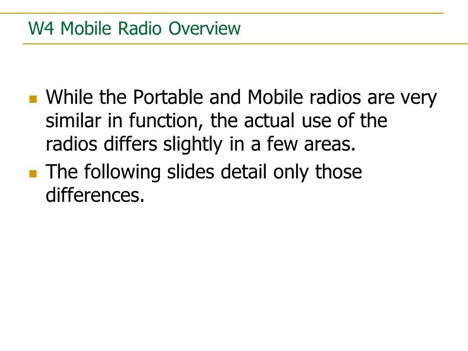 Model W4 Mobile Radio
