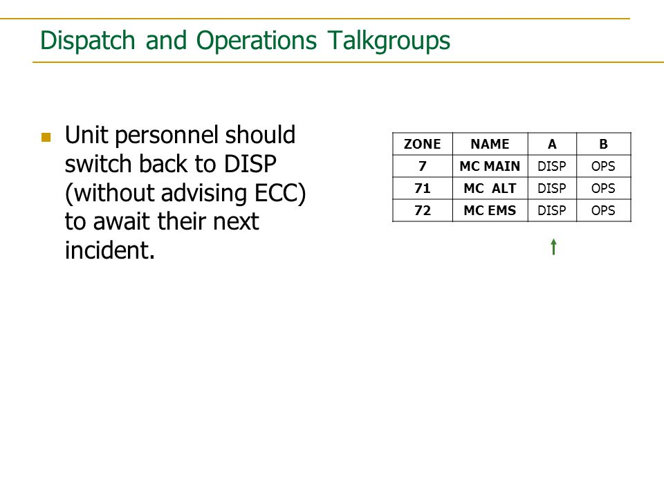 Units and Stations monitor the Dispatch Talkgroup (DISP TG).