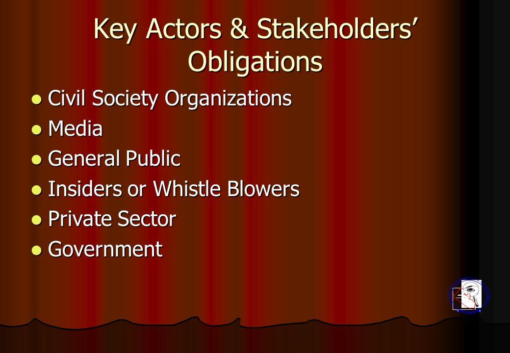 Key Actors & Stakeholders' Obligations Civil Society Organizations Civil Society Organizations Media Media General Public General Public Insiders or W