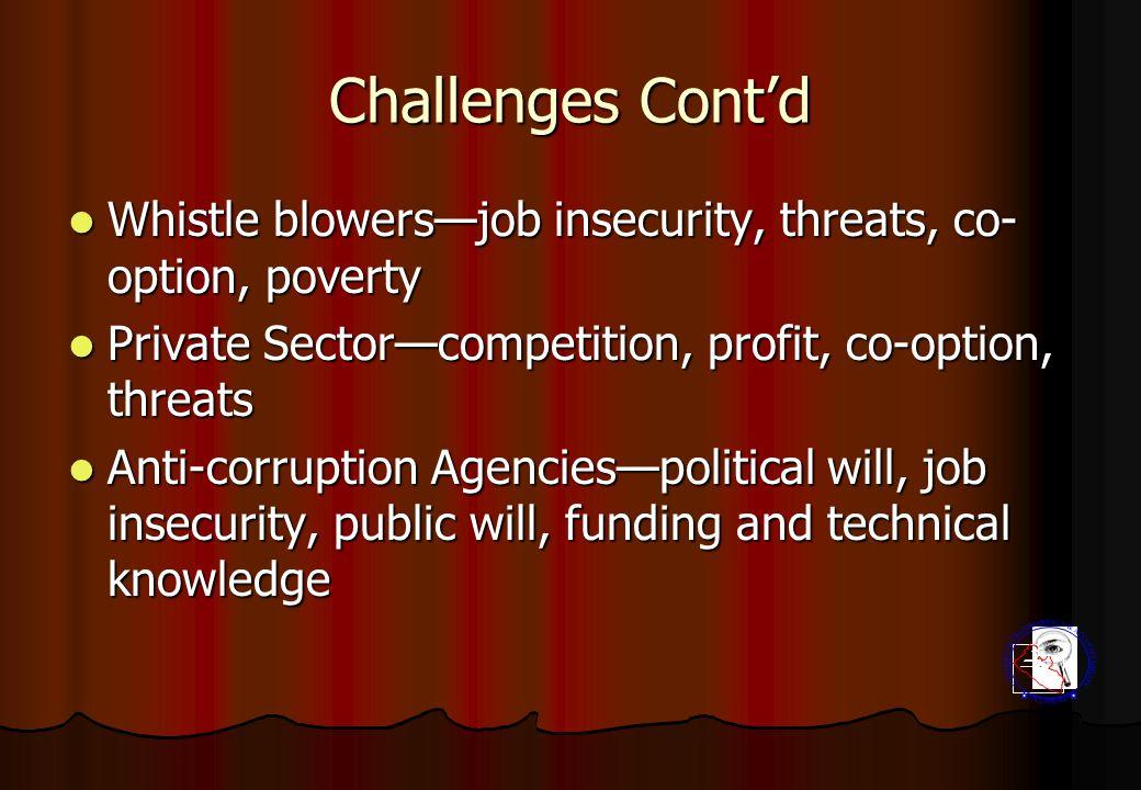 Challenges Cont'd Whistle blowers—job insecurity, threats, co- option, poverty Whistle blowers—job insecurity, threats, co- option, poverty Private Se