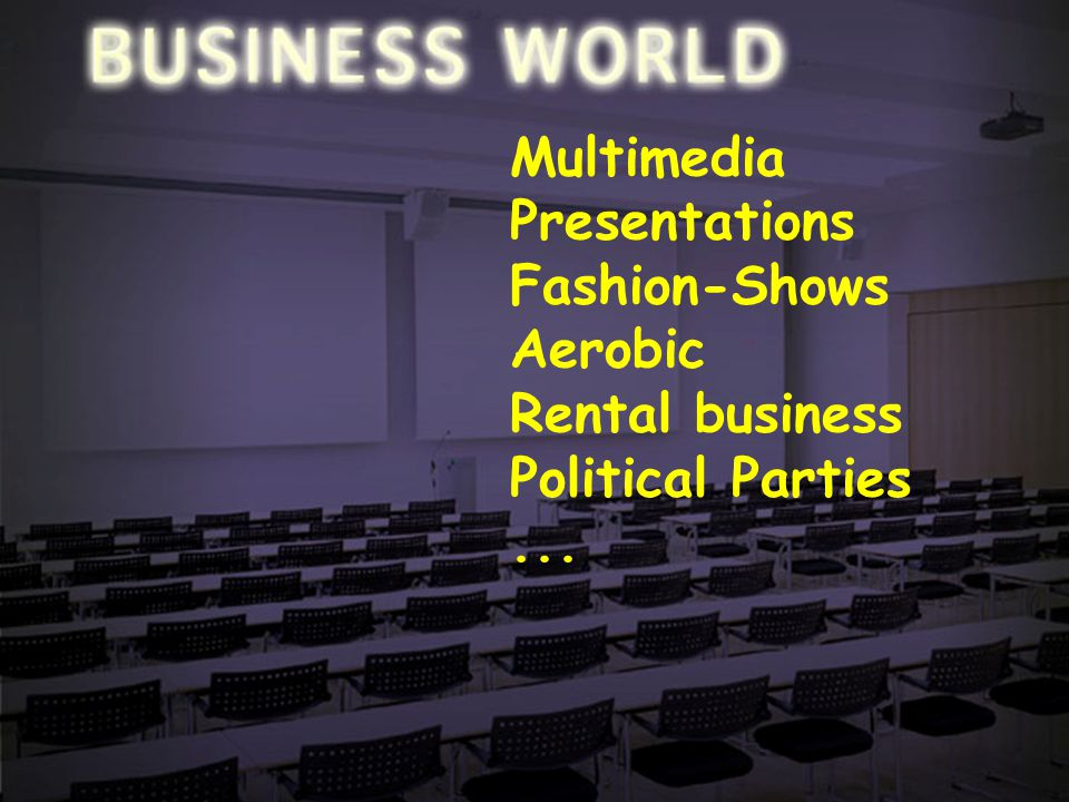 Positioning-10 Multimedia Presentations Fashion-Shows Aerobic Rental business Political Parties...