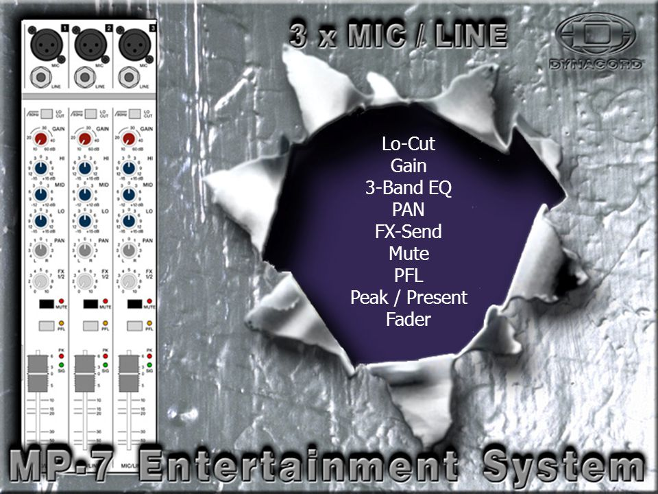Mic-Line-2 Lo-Cut Gain 3-Band EQ PAN FX-Send Mute PFL Peak / Present Fader