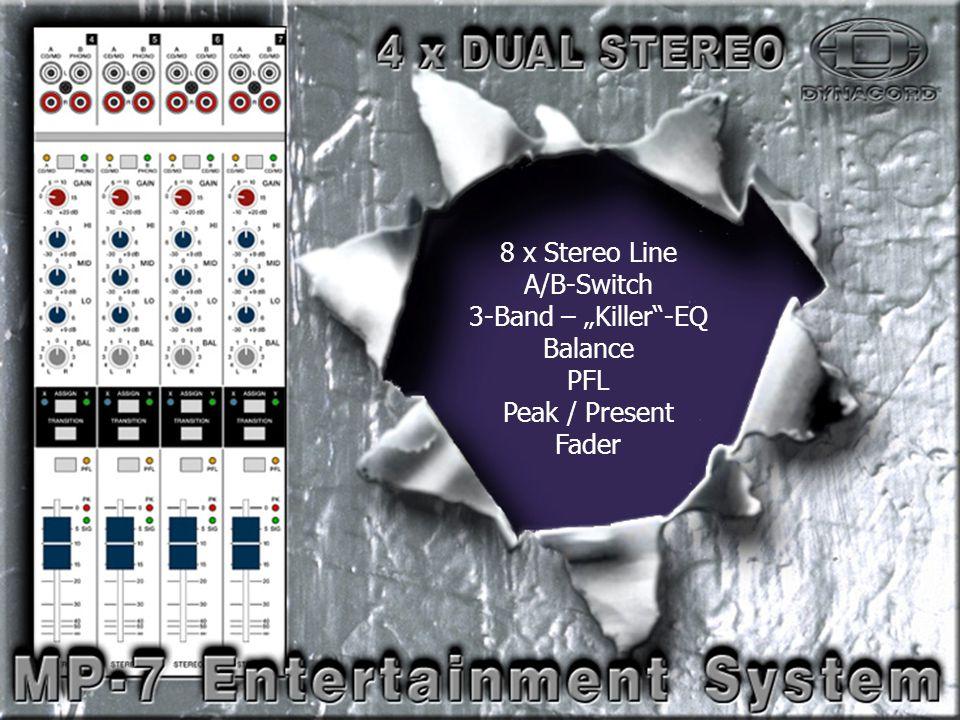 "Dual Stereo-2 8 x Stereo Line A/B-Switch 3-Band – ""Killer -EQ Balance PFL Peak / Present Fader"